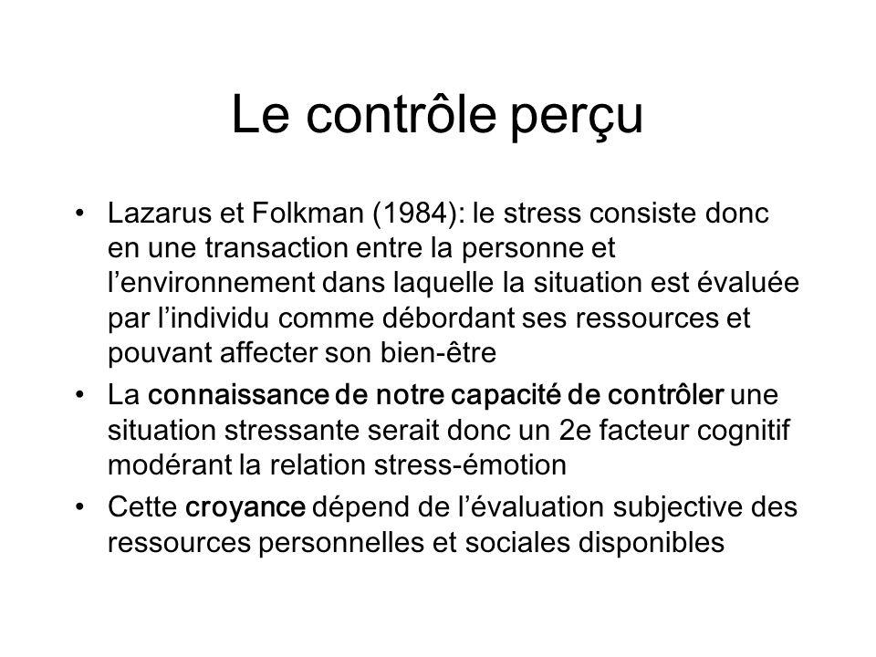 Le contrôle perçu Lazarus et Folkman (1984): le stress consiste donc en une transaction entre la personne et lenvironnement dans laquelle la situation