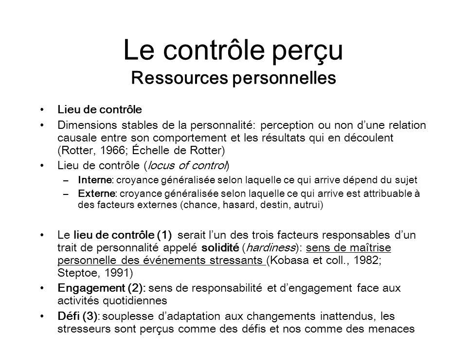 Le contrôle perçu Ressources personnelles Lieu de contrôle Dimensions stables de la personnalité: perception ou non dune relation causale entre son co