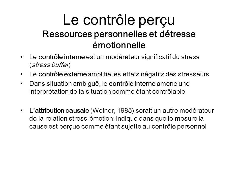 Le contrôle perçu Ressources personnelles et détresse émotionnelle Le contrôle interne est un modérateur significatif du stress (stress buffer) Le con