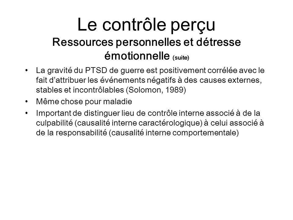 Le contrôle perçu Ressources personnelles et détresse émotionnelle (suite) La gravité du PTSD de guerre est positivement corrélée avec le fait dattrib