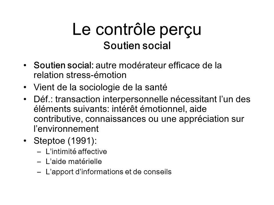 Le contrôle perçu Soutien social Soutien social: autre modérateur efficace de la relation stress-émotion Vient de la sociologie de la santé Déf.: tran
