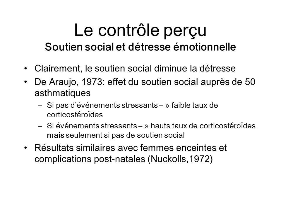 Le contrôle perçu Soutien social et détresse émotionnelle Clairement, le soutien social diminue la détresse De Araujo, 1973: effet du soutien social a