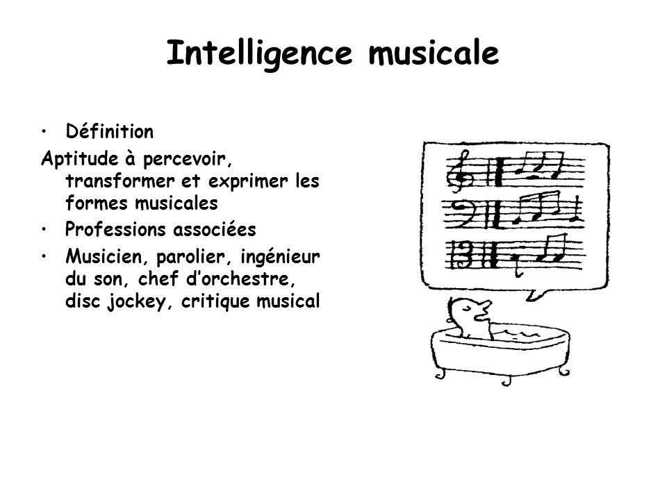 Intelligence musicale Définition Aptitude à percevoir, transformer et exprimer les formes musicales Professions associées Musicien, parolier, ingénieu