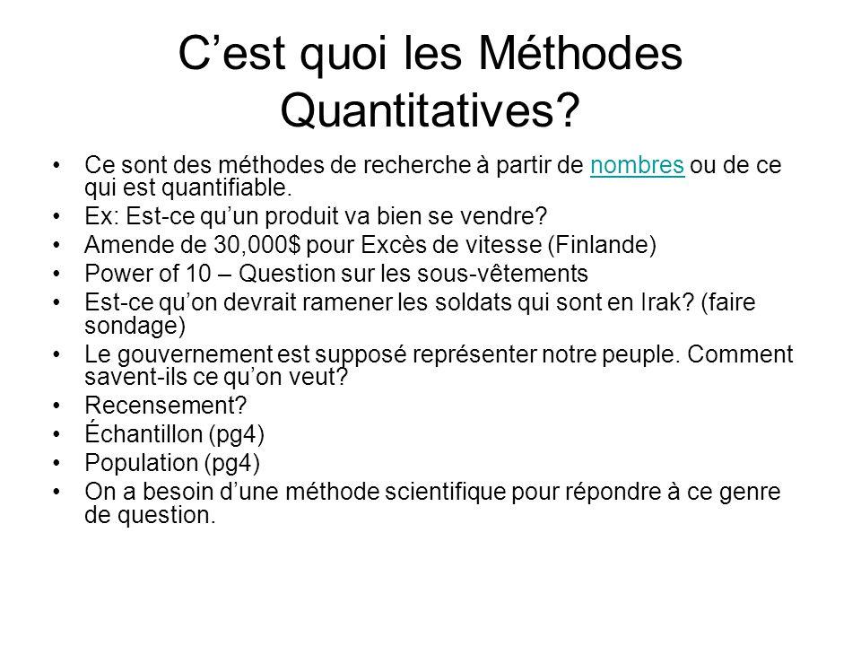 Cest quoi les Méthodes Quantitatives? Ce sont des méthodes de recherche à partir de nombres ou de ce qui est quantifiable.nombres Ex: Est-ce quun prod