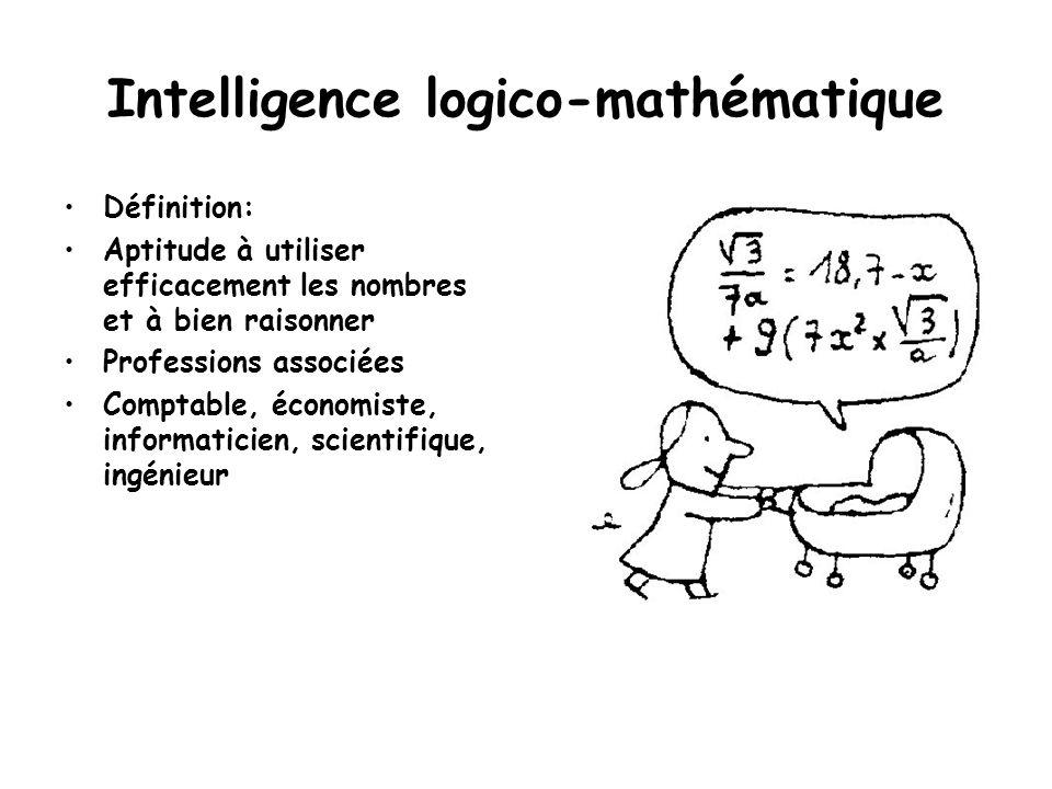 Intelligence logico-mathématique Définition: Aptitude à utiliser efficacement les nombres et à bien raisonner Professions associées Comptable, économi
