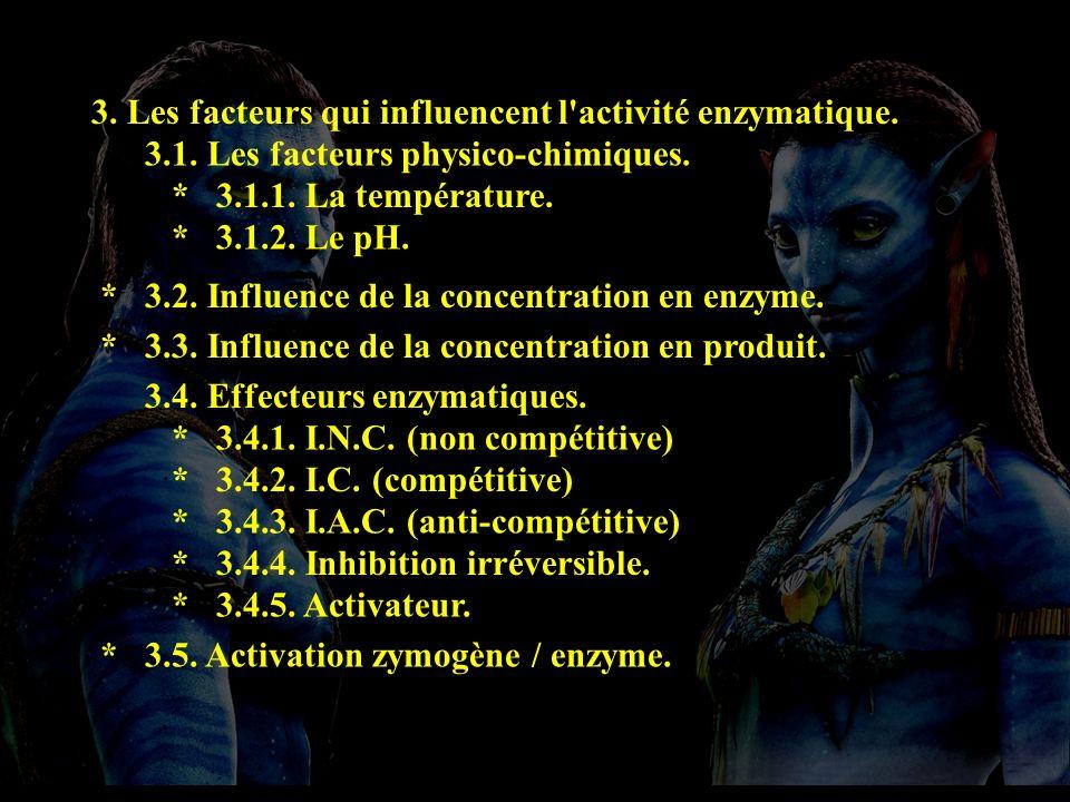 3. Les facteurs qui influencent l'activité enzymatique. 3.1. Les facteurs physico-chimiques. * 3.1.1. La température. * 3.1.2. Le pH. * 3.2. Influence