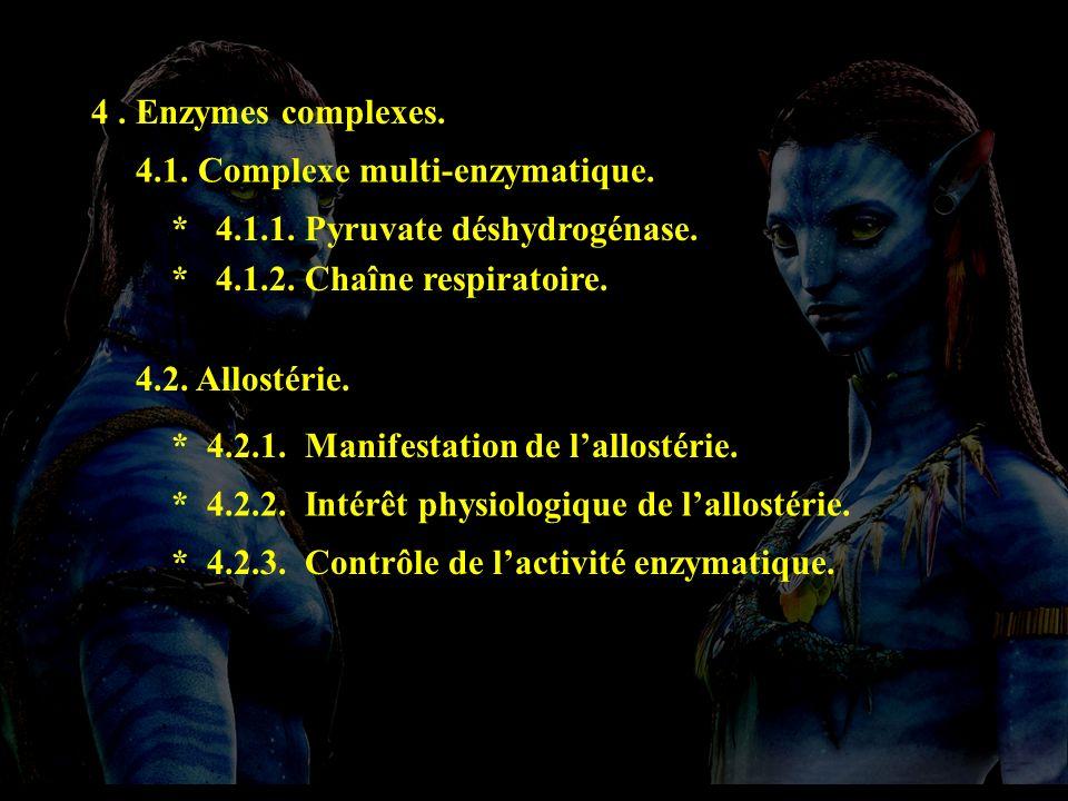 plan 4 4. Enzymes complexes. 4.1. Complexe multi-enzymatique. * 4.1.2. Chaîne respiratoire. 4.2. Allostérie. * 4.2.1. Manifestation de lallostérie. *