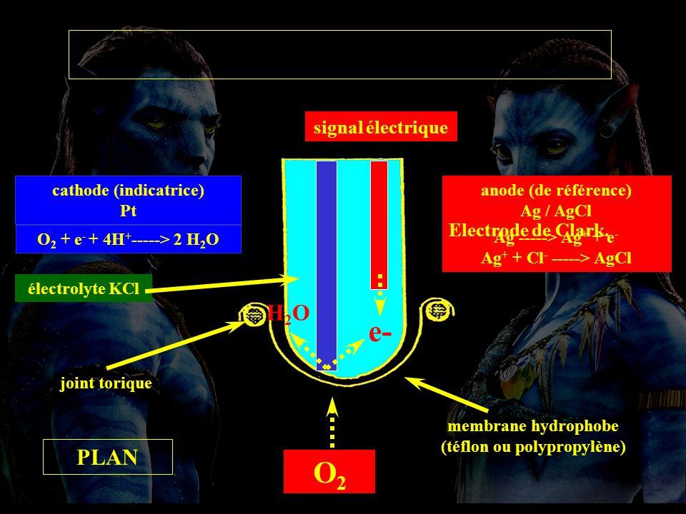 Electrode Clark membrane hydrophobe (téflon ou polypropylène) joint torique anode (de référence) Ag / AgCl Ag -----> Ag + + e - Ag + + Cl - -----> AgCl cathode (indicatrice) Pt O 2 + e - + 4H + -----> 2 H 2 O O2O2 électrolyte KCl e- H2OH2O signal électrique PLAN Electrode de Clark.