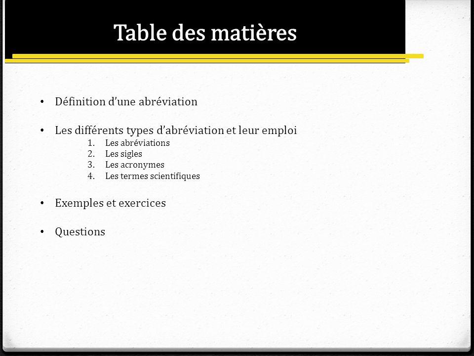 Définition dune abréviation Les différents types dabréviation et leur emploi 1.Les abréviations 2.Les sigles 3.Les acronymes 4.Les termes scientifique