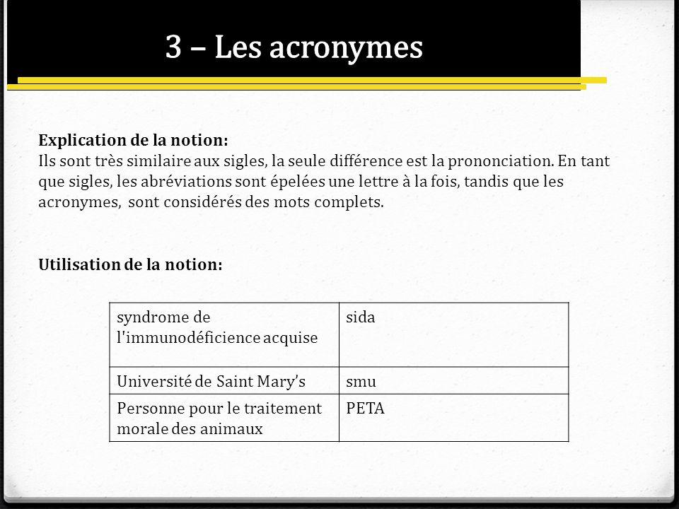 Explication de la notion: Ils sont très similaire aux sigles, la seule différence est la prononciation. En tant que sigles, les abréviations sont épel