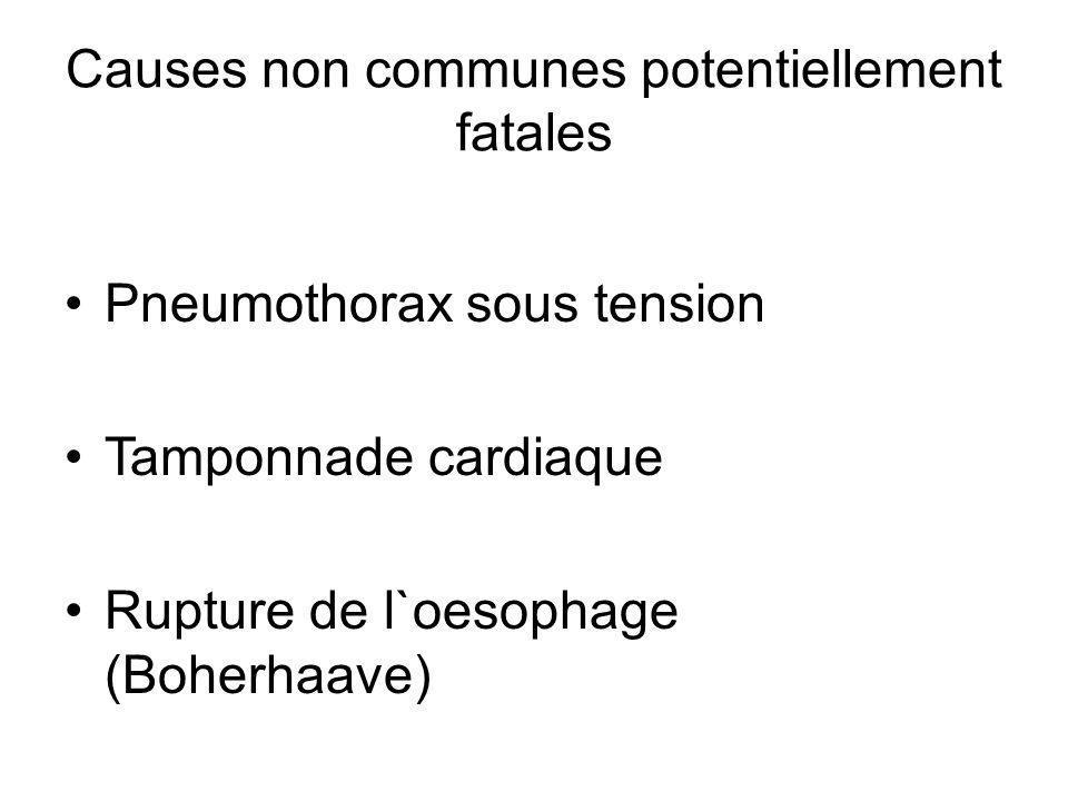 Pneumothorax sous tension Tamponnade cardiaque Rupture de l`oesophage (Boherhaave)