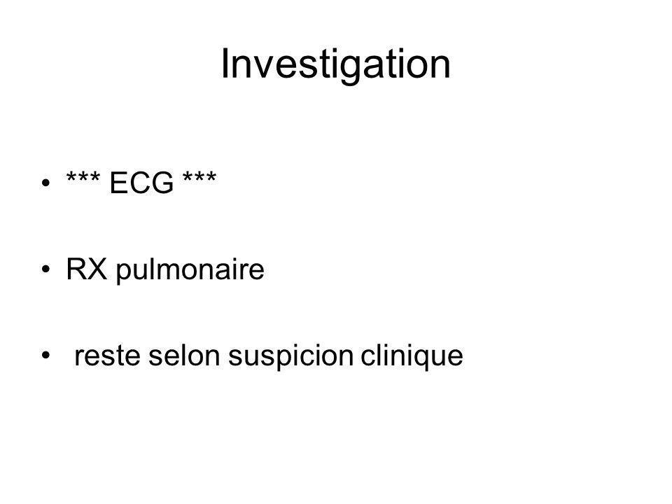 *** ECG *** RX pulmonaire reste selon suspicion clinique