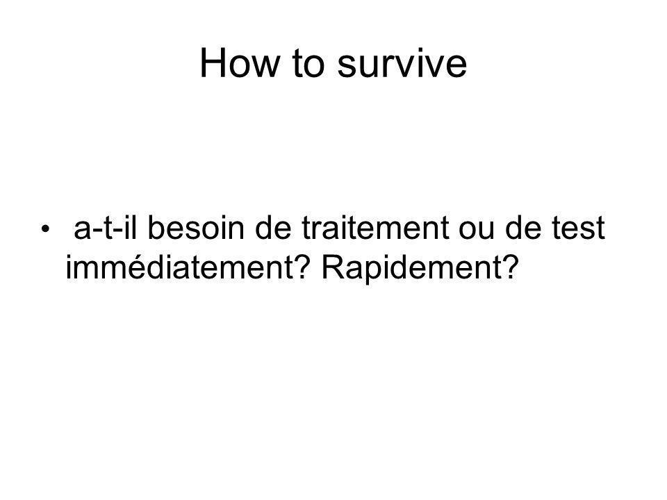 How to survive a-t-il besoin de traitement ou de test immédiatement? Rapidement?