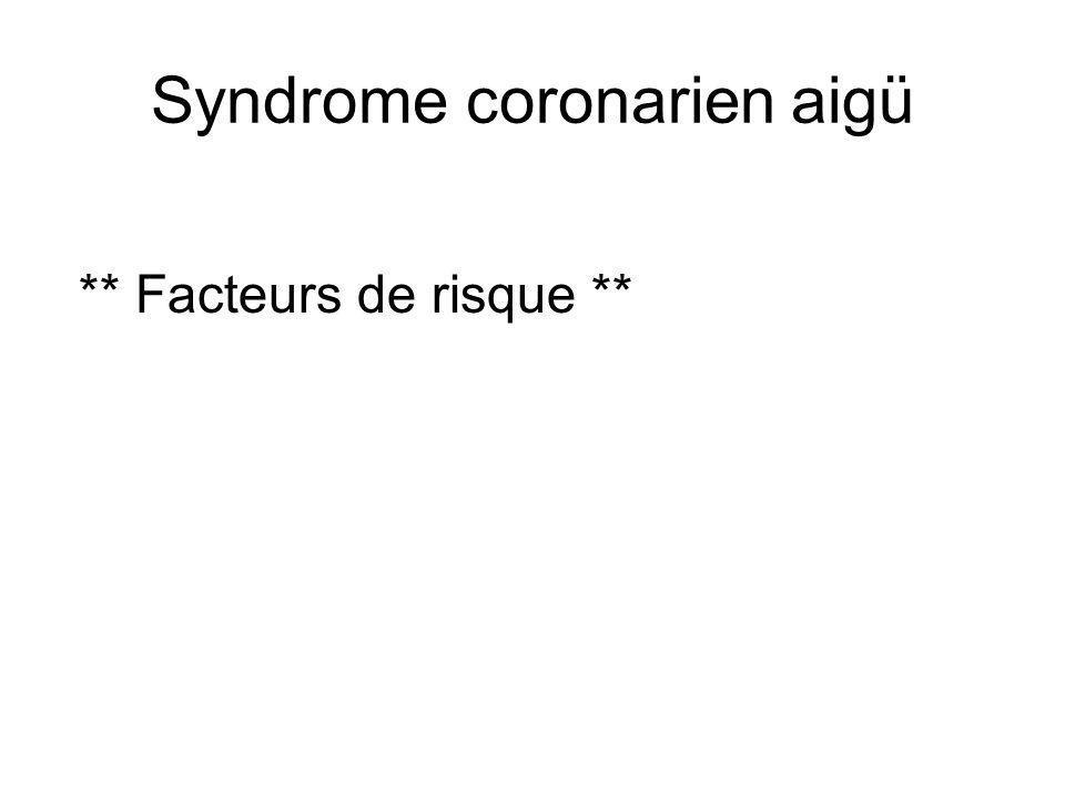 Syndrome coronarien aigü ** Facteurs de risque **