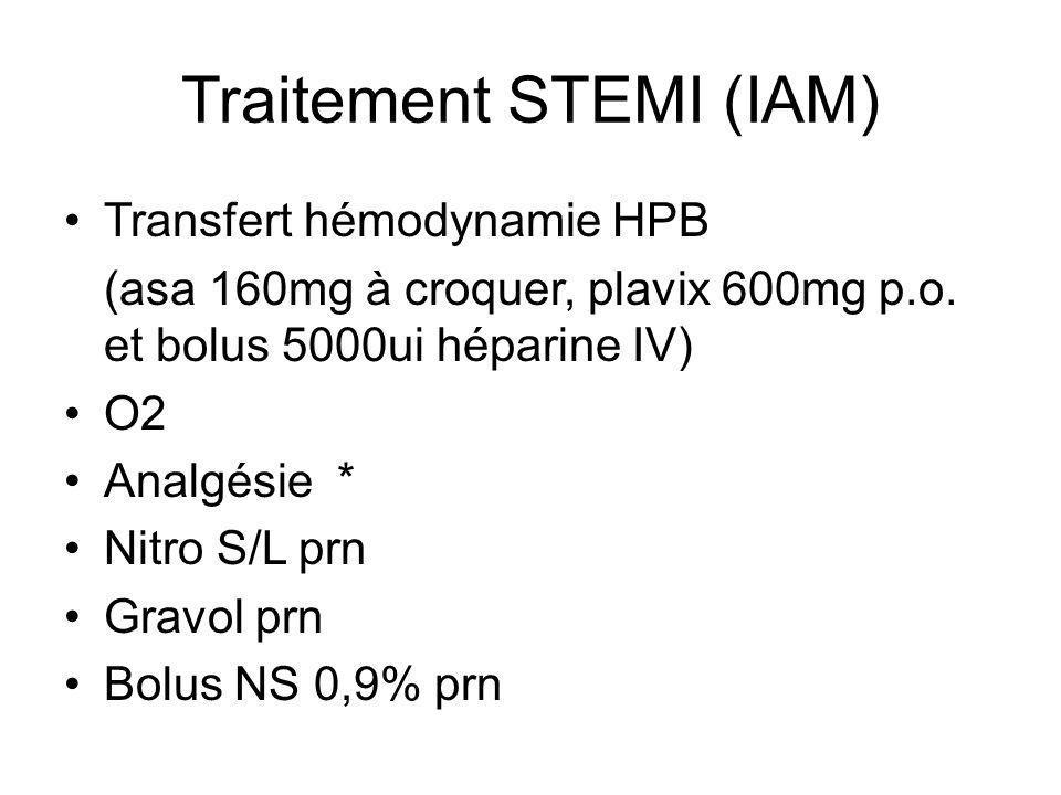 Traitement STEMI (IAM) Transfert hémodynamie HPB (asa 160mg à croquer, plavix 600mg p.o.