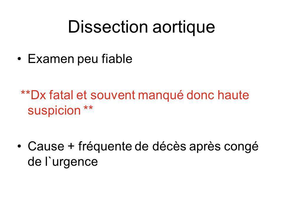 Dissection aortique Examen peu fiable **Dx fatal et souvent manqué donc haute suspicion ** Cause + fréquente de décès après congé de l`urgence