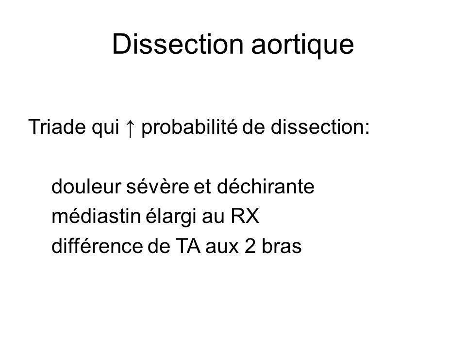 Dissection aortique Triade qui probabilité de dissection: douleur sévère et déchirante médiastin élargi au RX différence de TA aux 2 bras