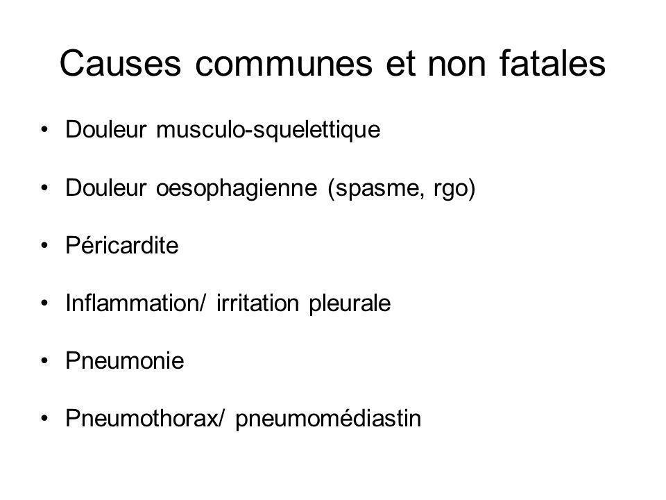 Douleur musculo-squelettique Douleur oesophagienne (spasme, rgo) Péricardite Inflammation/ irritation pleurale Pneumonie Pneumothorax/ pneumomédiastin
