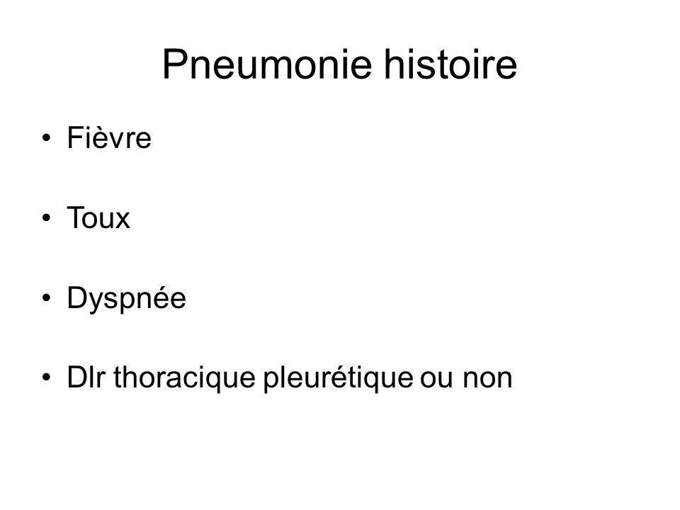 Pneumonie histoire Fièvre Toux Dyspnée Dlr thoracique pleurétique ou non