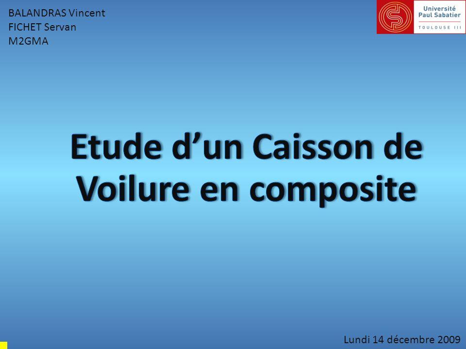 Présentation de létude Caractéristiques : Nervures en aluminium : - Module de Young : 70000 MPa - Coefficient de Poisson ν = 0,3 -Epaisseur : 3 mm Peau et longeron en composite (caract.