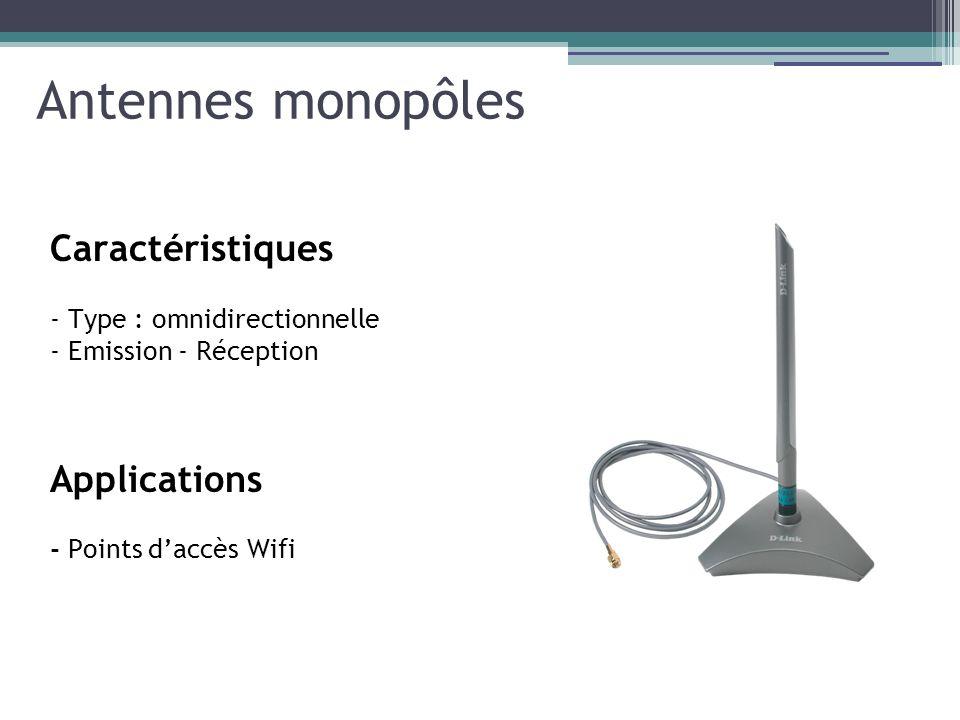 Antennes monopôles Caractéristiques - Type : omnidirectionnelle - Emission - Réception Applications - Points daccès Wifi
