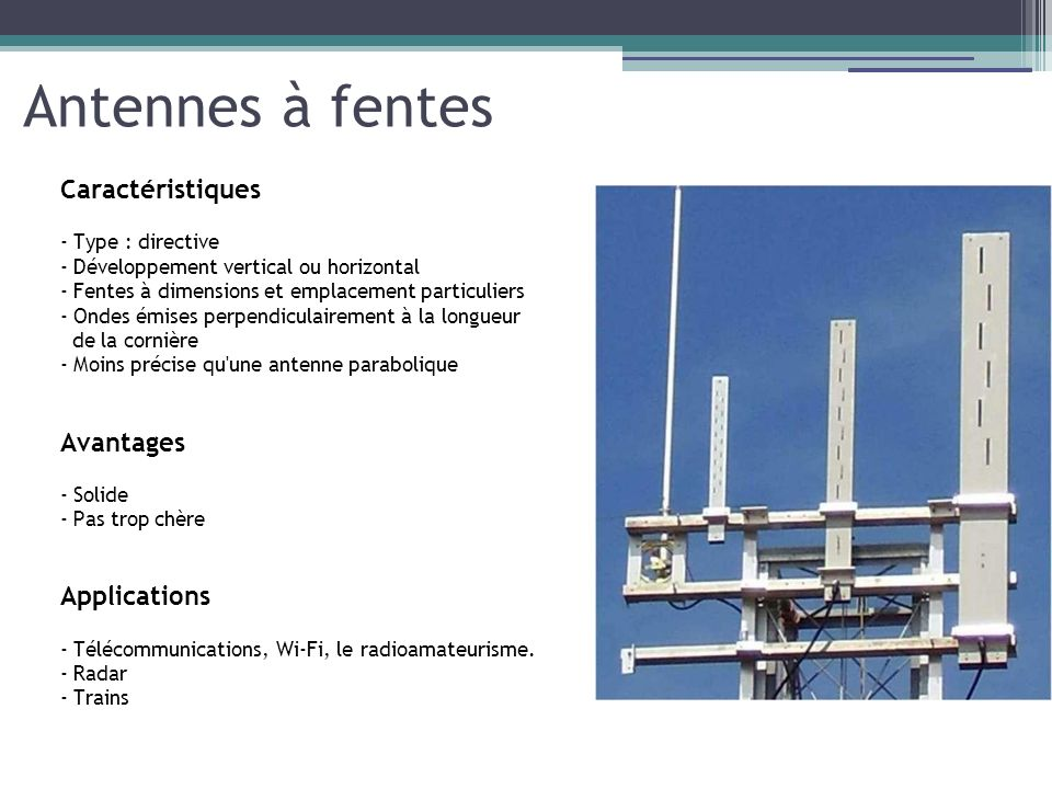 Antennes à fentes Caractéristiques - Type : directive - Développement vertical ou horizontal - Fentes à dimensions et emplacement particuliers - Ondes