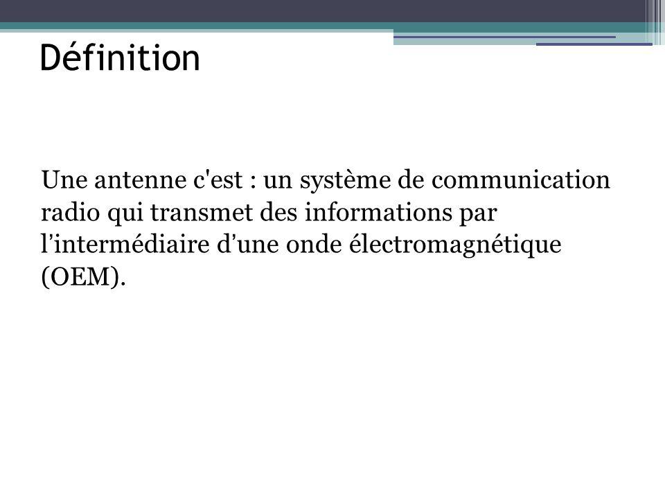 Définition Une antenne c'est : un système de communication radio qui transmet des informations par l intermédiaire d une onde électromagnétique (OEM).
