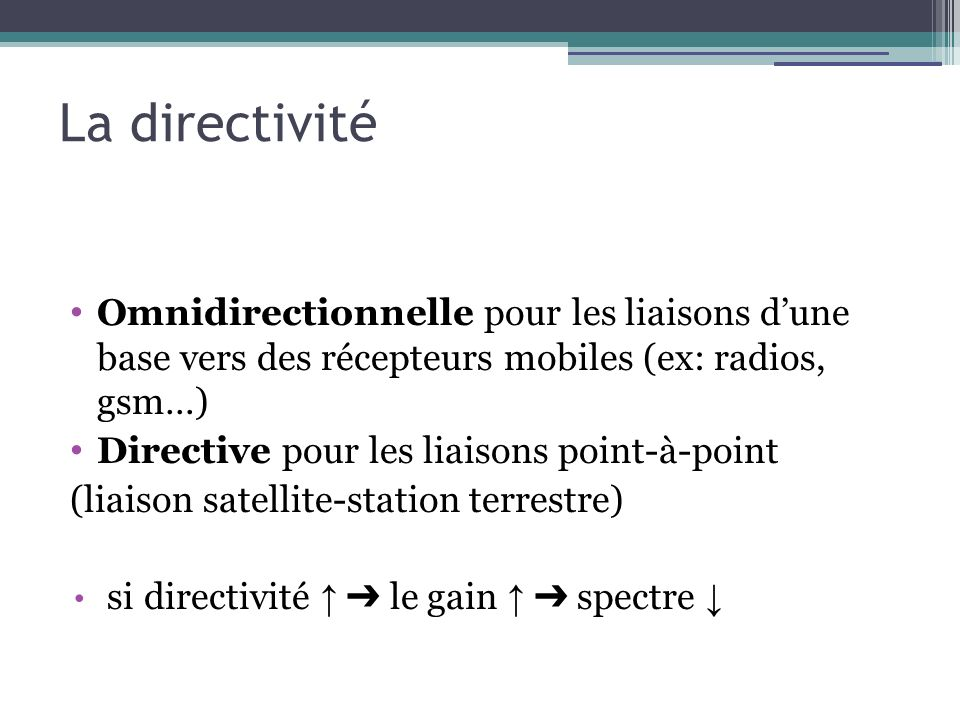 La directivité Omnidirectionnelle pour les liaisons dune base vers des récepteurs mobiles (ex: radios, gsm…) Directive pour les liaisons point-à-point