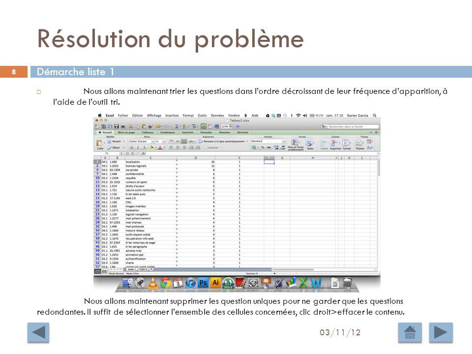 Résolution du problème 03/11/12 9 Nous appliquons la même démarche à la liste 2.