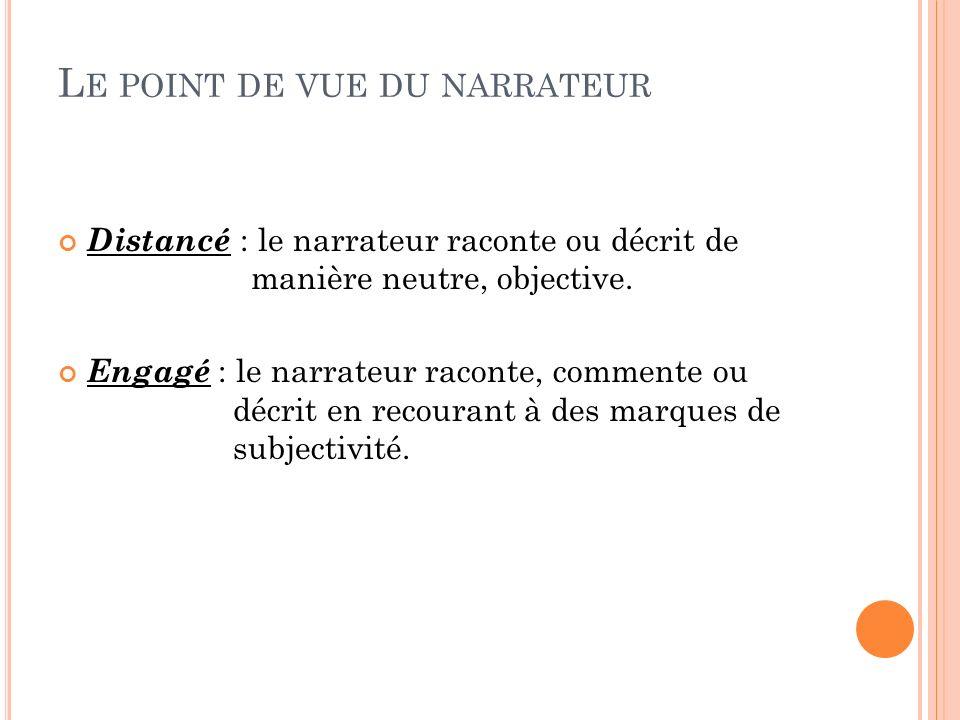 L E POINT DE VUE DU NARRATEUR Distancé : le narrateur raconte ou décrit de manière neutre, objective. Engagé : le narrateur raconte, commente ou décri