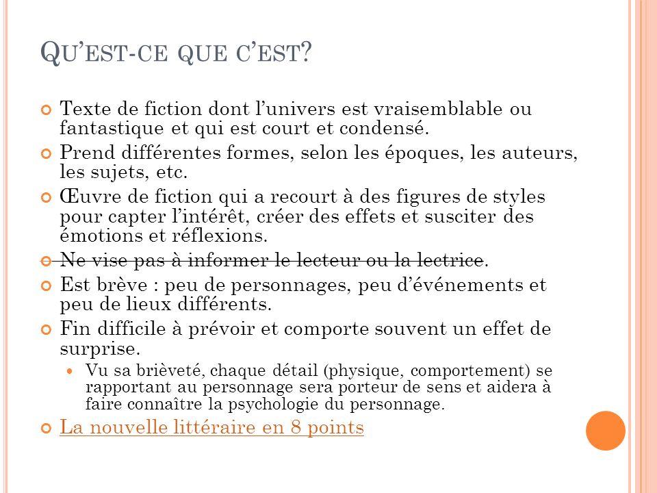 Q U EST - CE QUE C EST ? Texte de fiction dont lunivers est vraisemblable ou fantastique et qui est court et condensé. Prend différentes formes, selon