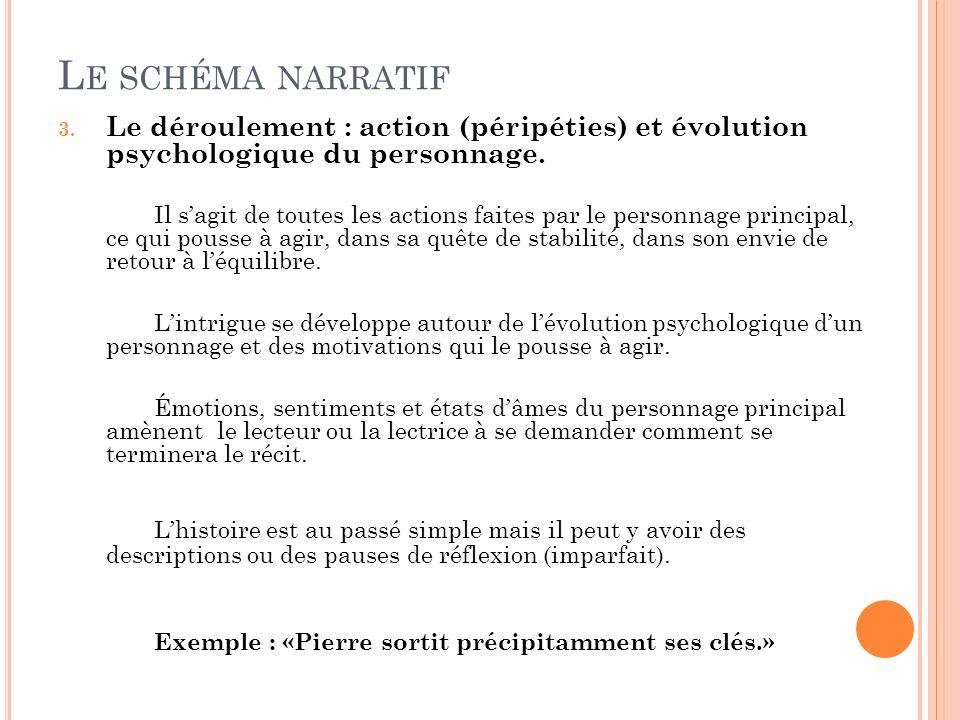 L E SCHÉMA NARRATIF 3. Le déroulement : action (péripéties) et évolution psychologique du personnage. Il sagit de toutes les actions faites par le per
