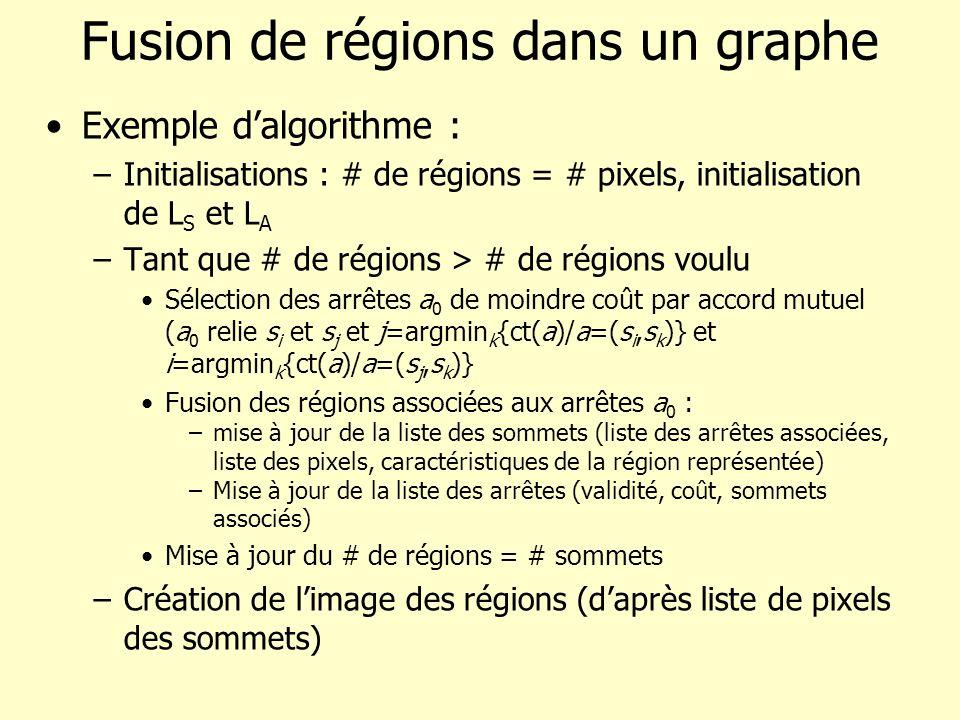 Fusion de régions dans un graphe Exemple dalgorithme : –Initialisations : # de régions = # pixels, initialisation de L S et L A –Tant que # de régions