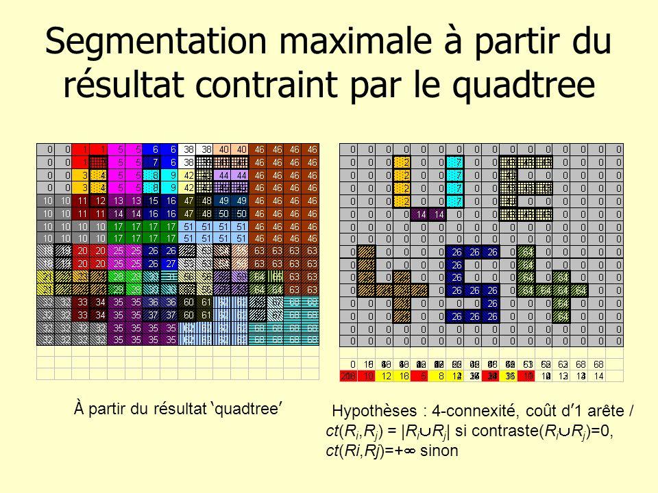 Segmentation maximale à partir du résultat contraint par le quadtree À partir du r é sultat quadtree Hypoth è ses : 4-connexit é, co û t d 1 arête / c
