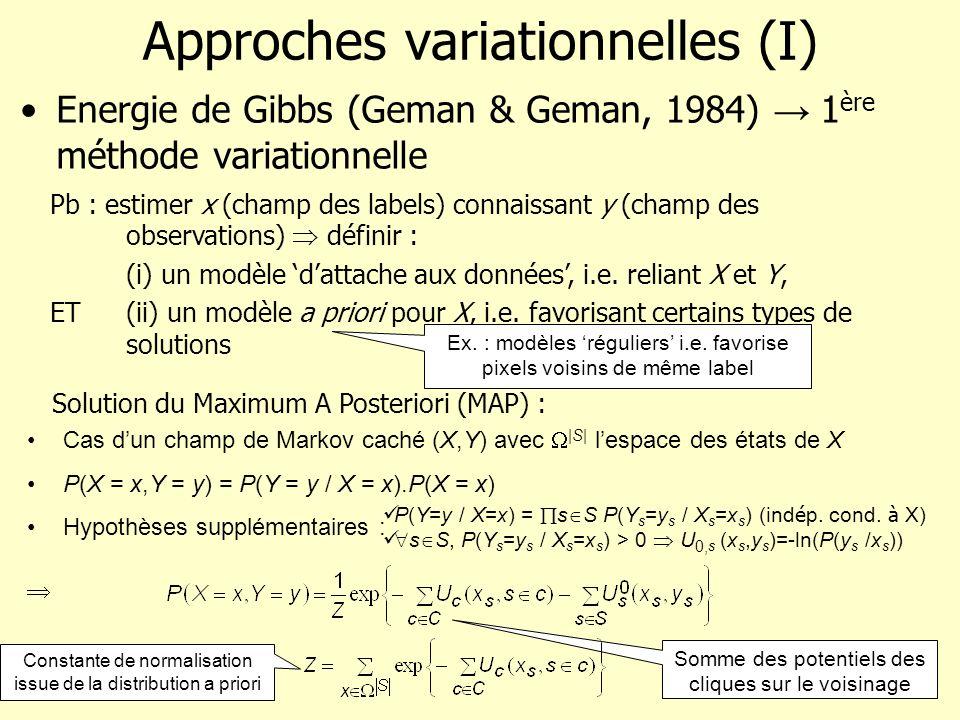 Approches variationnelles (I) Energie de Gibbs (Geman & Geman, 1984) 1 ère méthode variationnelle Pb : estimer x (champ des labels) connaissant y (cha