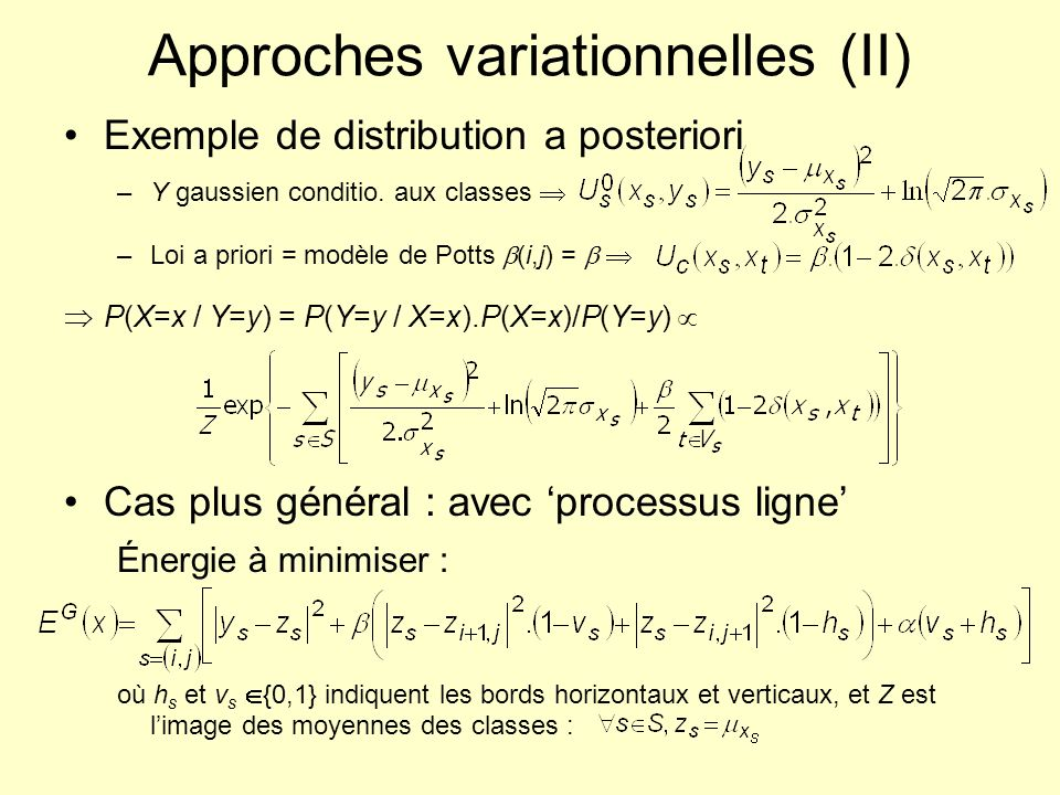 Approches variationnelles (II) Exemple de distribution a posteriori –Y gaussien conditio.