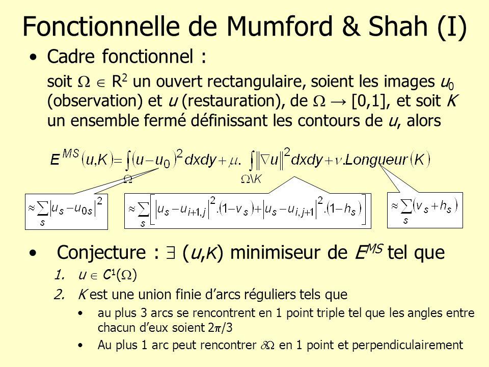 Fonctionnelle de Mumford & Shah (I) Cadre fonctionnel : soit R 2 un ouvert rectangulaire, soient les images u 0 (observation) et u (restauration), de