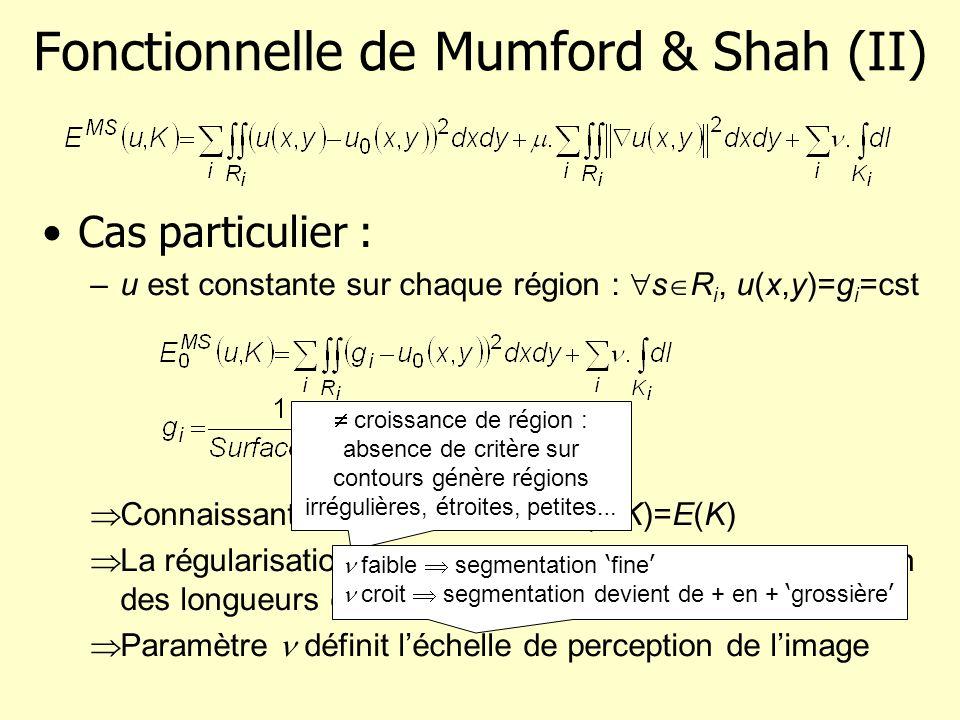 Fonctionnelle de Mumford & Shah (II) Cas particulier : –u est constante sur chaque région : s R i, u(x,y)=g i =cst Connaissant K, u est donné E(u,K)=E