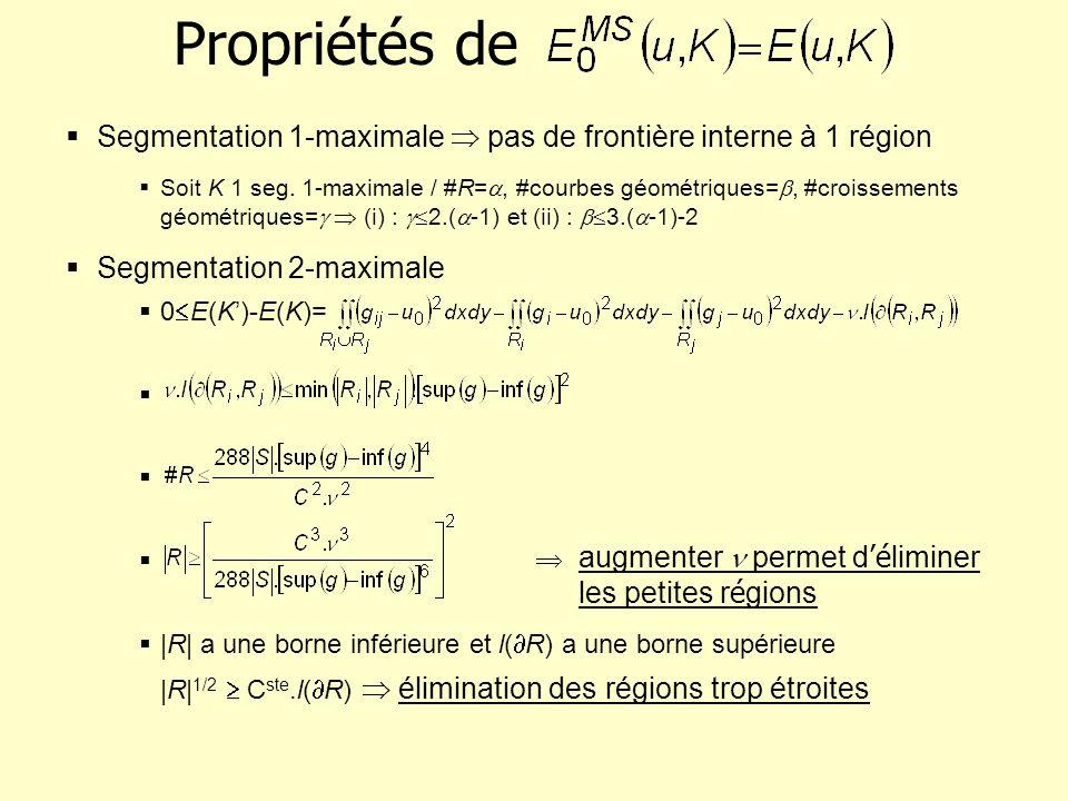 Propriétés de Segmentation 1-maximale pas de frontière interne à 1 région Soit K 1 seg. 1-maximale / #R=, #courbes géométriques=, #croissements géomét