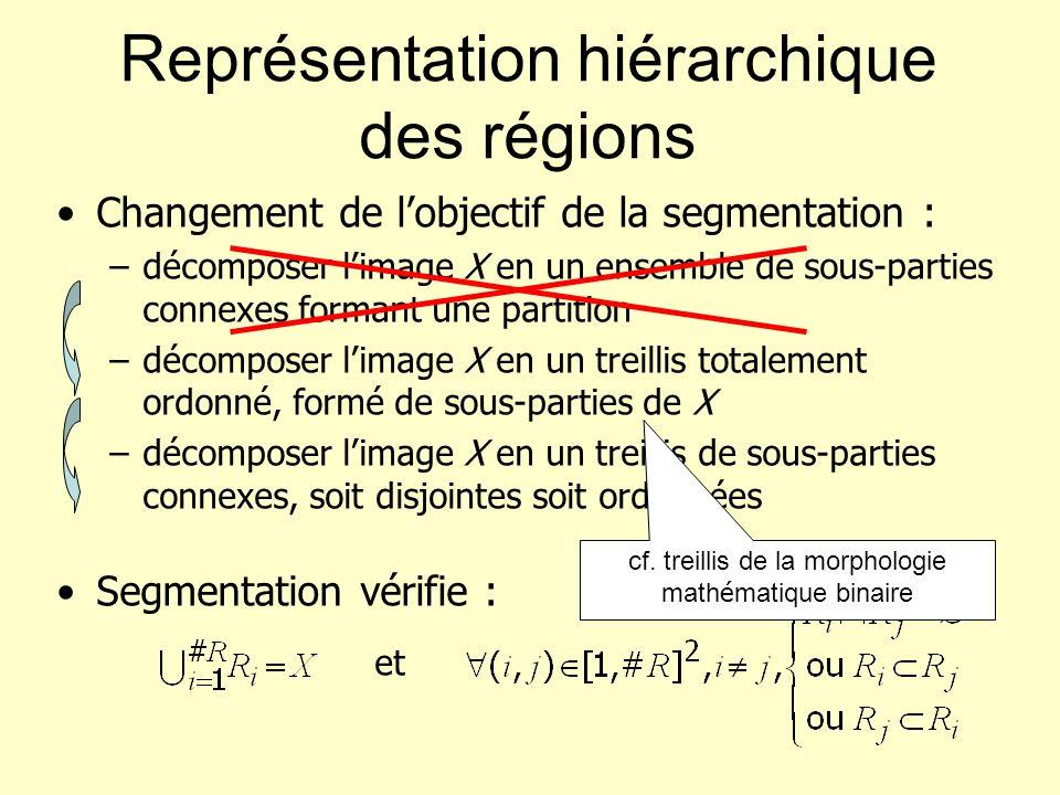 Représentation hiérarchique des régions Changement de lobjectif de la segmentation : –décomposer limage X en un ensemble de sous-parties connexes form