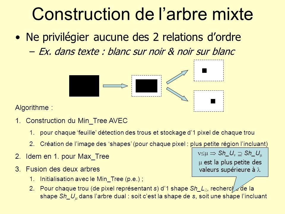 Construction de larbre mixte Ne privilégier aucune des 2 relations dordre –Ex. dans texte : blanc sur noir & noir sur blanc Algorithme : 1.Constructio