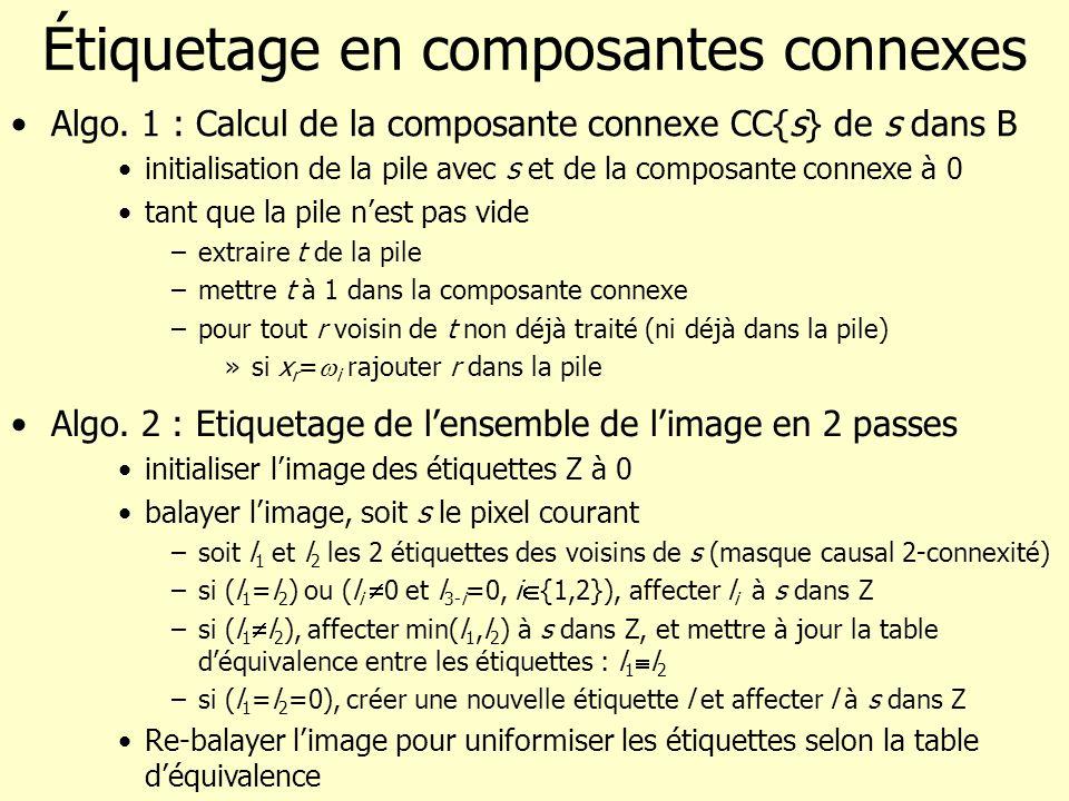 Fusion de régions dans un graphe Exemple dalgorithme : –Initialisations : # de régions = # pixels, initialisation de L S et L A –Tant que # de régions > # de régions voulu Sélection des arrêtes a 0 de moindre coût par accord mutuel (a 0 relie s i et s j et j=argmin k {ct(a)/a=(s i,s k )} et i=argmin k {ct(a)/a=(s j,s k )} Fusion des régions associées aux arrêtes a 0 : –mise à jour de la liste des sommets (liste des arrêtes associées, liste des pixels, caractéristiques de la région représentée) –Mise à jour de la liste des arrêtes (validité, coût, sommets associés) Mise à jour du # de régions = # sommets –Création de limage des régions (daprès liste de pixels des sommets)