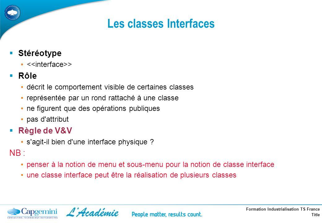 Formation Industrialisation TS France Title Les classes Interfaces Stéréotype > Rôle décrit le comportement visible de certaines classes représentée p