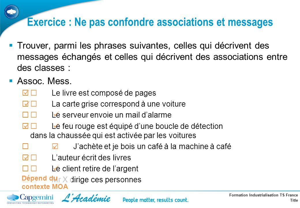 Formation Industrialisation TS France Title Trouver, parmi les phrases suivantes, celles qui décrivent des messages échangés et celles qui décrivent d