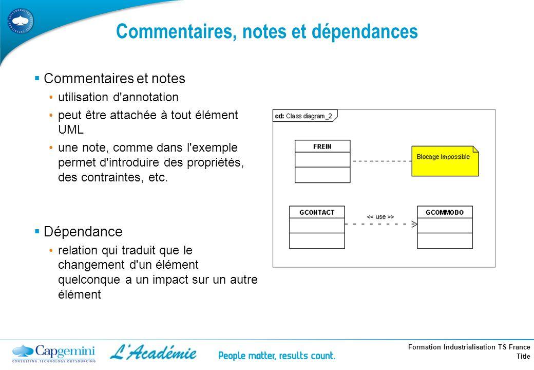Formation Industrialisation TS France Title Commentaires, notes et dépendances Commentaires et notes utilisation d'annotation peut être attachée à tou