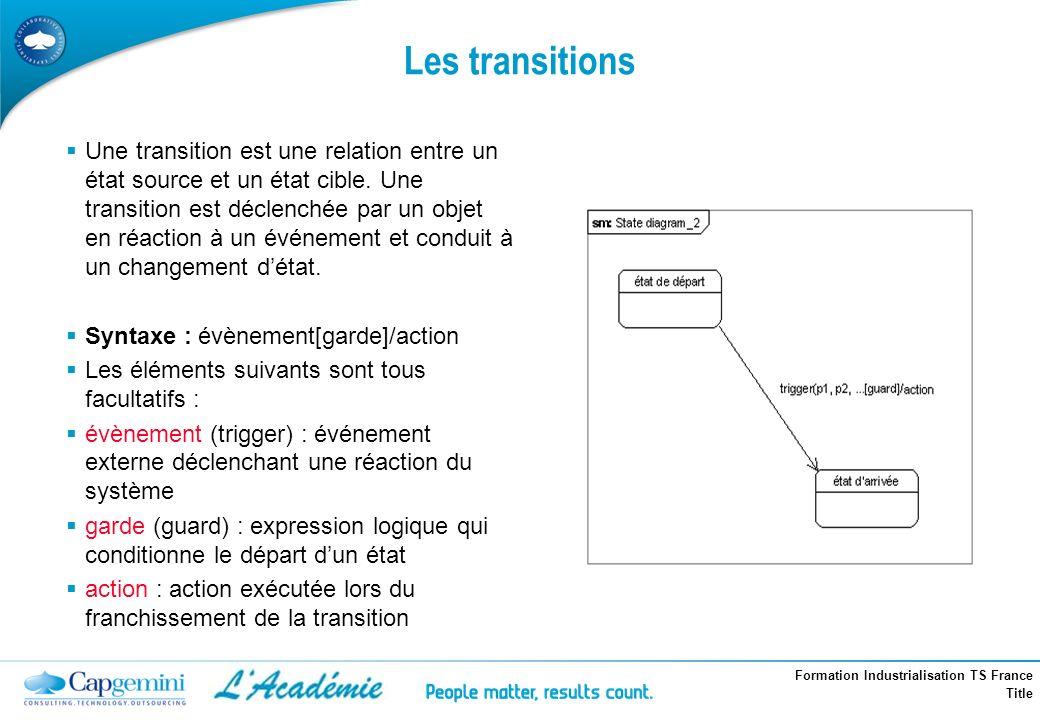 Formation Industrialisation TS France Title Les transitions Une transition est une relation entre un état source et un état cible. Une transition est