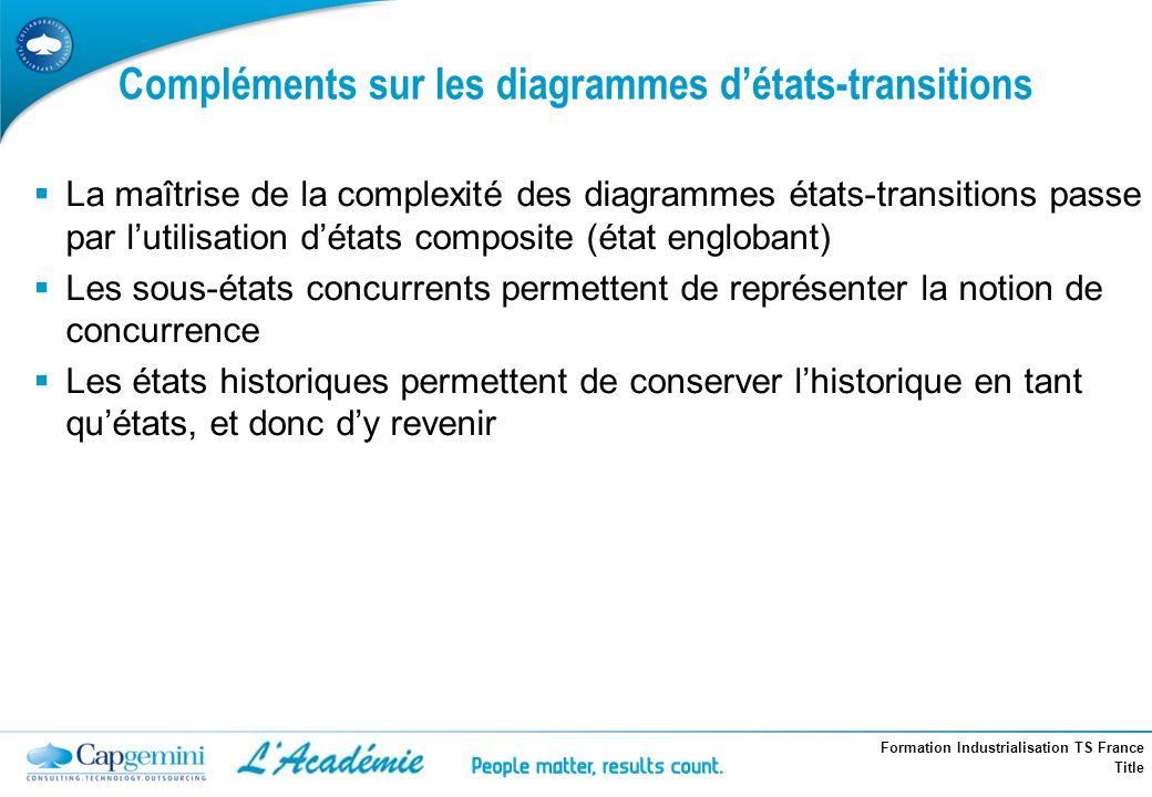 Formation Industrialisation TS France Title Compléments sur les diagrammes détats-transitions La maîtrise de la complexité des diagrammes états-transi