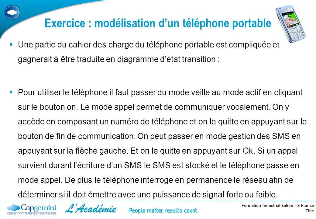 Formation Industrialisation TS France Title Exercice : modélisation dun téléphone portable Une partie du cahier des charge du téléphone portable est c