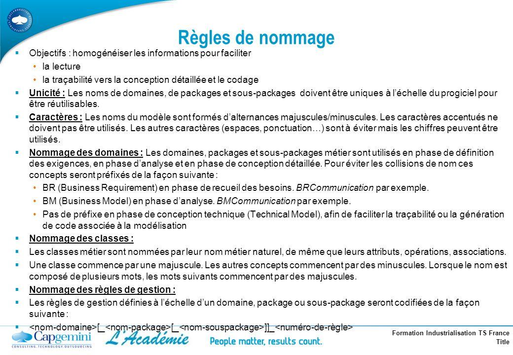 Formation Industrialisation TS France Title Règles de nommage Objectifs : homogénéiser les informations pour faciliter la lecture la traçabilité vers