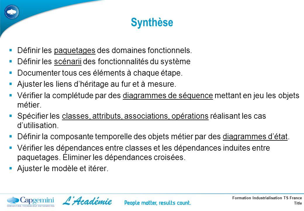 Formation Industrialisation TS France Title Synthèse Définir les paquetages des domaines fonctionnels. Définir les scénarii des fonctionnalités du sys